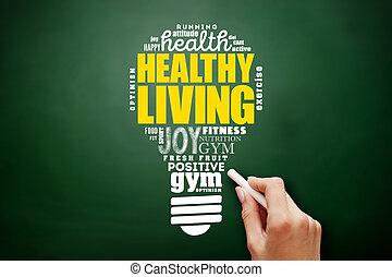 暮らし, 雲, 健康, ライト, 健康, 概念, 電球, 単語