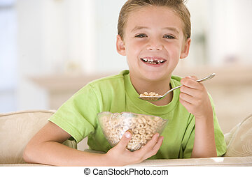 暮らし, 食べること, 部屋, 男の子, 若い, シリアル, 微笑