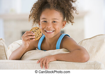 暮らし, 食べること, 部屋, 若い, クッキー, 女の子の微笑