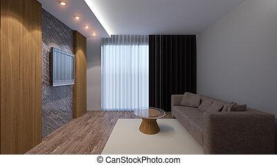 暮らし, render, room., オフィス。, 現代, 内部, 3d
