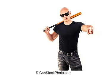暴力, そして, 侵略, 概念, -, 激怒している, 叫ぶこと, 怒る, 人, 手の 保有物, 野球, スポーツ,...