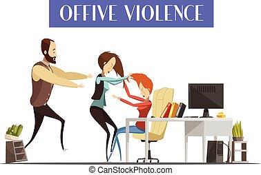 暴力, オフィス, イラスト