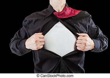 暴露, 彼の, superhero, ワイシャツ, ビジネス, 若い, スーツ, 離れて, 引き裂くこと, 人