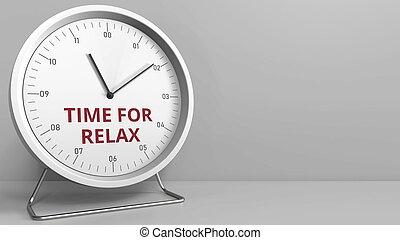 暴露, 時計, テキスト, face., リラックスしなさい, レンダリング, 時間, 概念, 3d