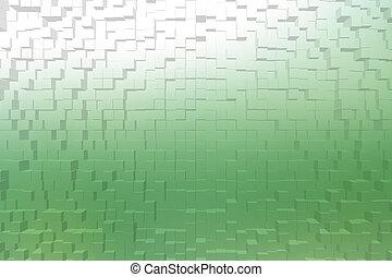 曇らされた ガラス, 緑, 色, 3d, ブロック, スタイル