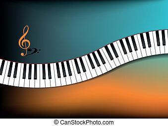 曲がった, ピアノ, 背景, キーボード