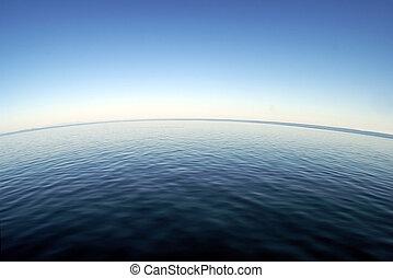 曲がった, 地平線, 海洋