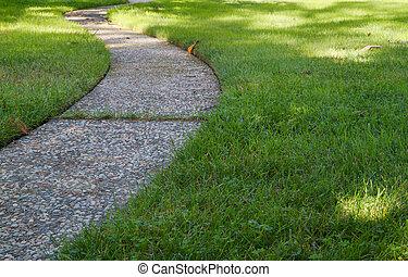 曲がった, 芝生の草, 低い, 道