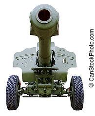 曲射砲, 前方へ, 砲兵隊, クローズアップ, 茎