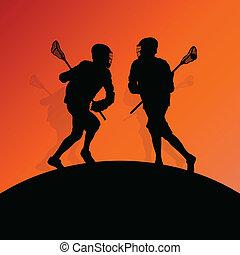 曲棍網兜球 球員, 活躍, 人, 運動, 黑色半面畫像, 背景, 插圖, 矢量, 為, 海報