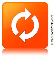 更新, アイコン, オレンジ正方形, ボタン