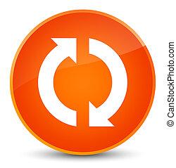 更新, アイコン, 優雅である, オレンジ, ラウンド, ボタン