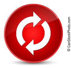 更新, アイコン, 優雅である, 赤, ラウンド, ボタン
