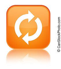 更新, アイコン, 特別, オレンジ正方形, ボタン