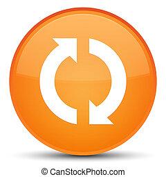 更新, アイコン, 特別, オレンジ, ラウンド, ボタン