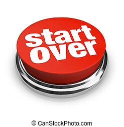 更新, 在上方, 啟動按扭, 輪, 重新起動, 紅色