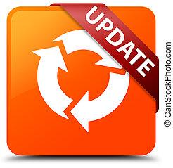 更新, (refresh, icon), オレンジ正方形, ボタン, 赤いリボン, 中に, コーナー