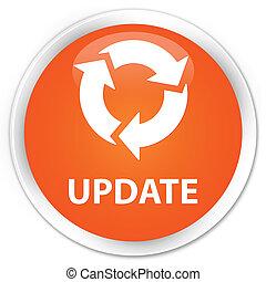 更新, (refresh, icon), 優れた, オレンジ, ラウンド, ボタン
