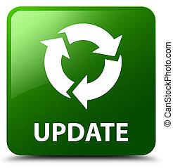 更新, (refresh, icon), 緑, 広場, ボタン
