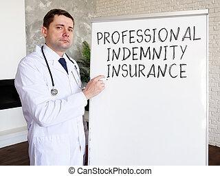 書いた, 医者, 医学の 専門家, 碑文, 損害保障, insurance.