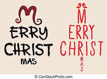 書かれた, ベクトル, クリスマス, 手, カード