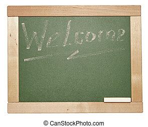 書かれた, 歓迎, チョーク, 黒板