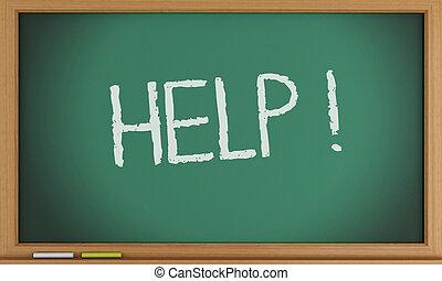 書かれた, blackboard., 助け, 3d
