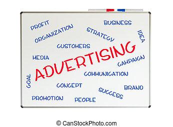 書かれた, whiteboard, 単語, 広告, 雲