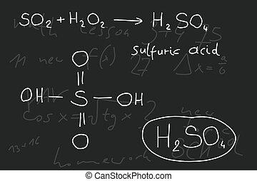 書かれている手, 落書き, イラスト, -, inorganic, 化学, lesson., 硫黄, 酸, inorganic, 鉱物, 酸, 化合物, -, 分子, structure.