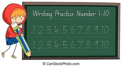 書きなさい, 練習しなさい, 数, 10