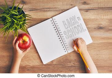 書く, ノート, 空, 子供