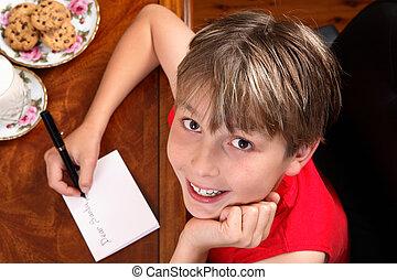 書く, 手紙, santa, 子供