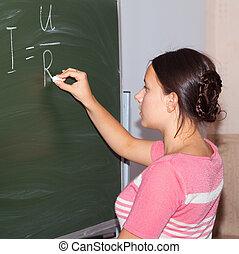 書く, 黒板, ohm's, 方式, 女の子, 法律