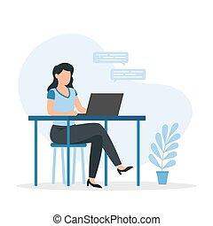 書桌, 家, 工作, 或者, freelancer., laptop., 坐, 年輕, 學生, 婦女