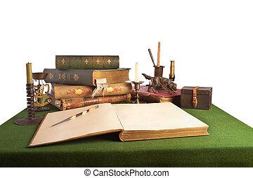 書桌, 由于, 一本開放書, 以及, 老, stationery., 被隔离, 上, white.