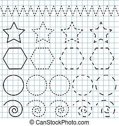 書法, 實踐, sheet., 教育, 孩子, game., printable, worksheet, 圖畫, 形狀