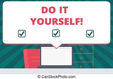書法, 正文, 寫, 做, 它, yourself., 概念, 意思, 做, 某事, 所作, 你, 自己, 方式, 家庭改進, renovations.