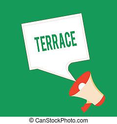 書法, 正文, 寫, terrace., 概念, 意思, 水平, 鋪, 區域, 在旁邊, 建築物, 院子, 地方, 使用, 為, 培養
