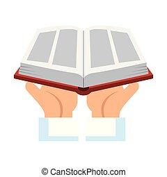 書, 宗教, 舉起, 神聖, 手