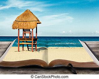 書, 海灘, 場景