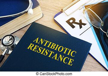 書, 由于, 標題, 抗生素, 抵抗, 在, a, hospital.