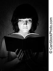 書, 發光, 婦女, 照明