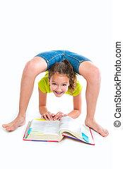 書, 靈活, contortionist, 女孩, 家庭作業, 孩子