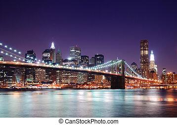 曼哈顿skyline, 同时,, 布鲁克林区桥梁