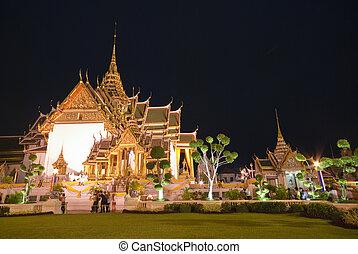 曼谷, 主要, 宮殿, 夜晚, 吸引力, thailand., 盛大, 旅遊業