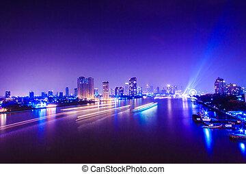 曼谷, 城市, 夜間, 時間, 區域, 在, the, 首都, ......的, 泰國