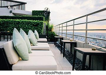 曼谷, 旅館酒吧, 25, 曼谷, 2015:, 三, 長沙發, 休息室, 六十, thailand., hilton, 泰國, 都市風景, 千年, 七月, 看法, 餐館