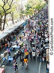 曼谷, -, february, 2:, 大, 人群, ......的, thailand's, 抗議