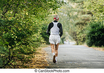 最も古い, ランナー, 公園, 背中, 秋, 走っている男性