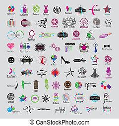 最も大きい, コレクション, の, ベクトル, ロゴ, の, ファッション, 付属品, そして, 衣類